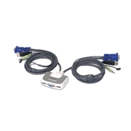 2PORT USB COMPACT KVM SWITCH W/ BUILT-IN 6FT CABLE