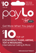 - $10 PayLo Top-Up Card
