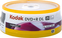 - 25-Pack Silver 8x DVD+R DL Disc Spindle