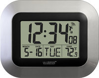 - Atomic Digital Wall Clock - Silver