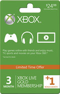- Xbox LIVE Gold 3-Month Membership Card + 1 Bonus