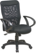 - High-Back Mesh Office Chair with Loop Arms - Bla