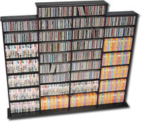 - Quad-Width Multimedia Wall Storage Unit - Black
