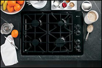 GE - Profile 30   Built-In Gas Cooktop - Black-on-