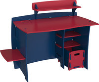 - Kids' Asymmetric Desk - Navy/Red