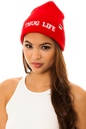 Women's The Thug Life Beanie in Red, Hats