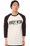 Men&#39;s The New York Raglan Tee in White and Black, 