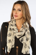 Women's The Crown and Skull Scarf in Ivory, Scarve