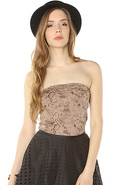 Women's The Weekend Alibi Tube Top in Taupe Snake,