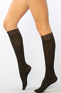 Women&#39;s The Black Floral Lace Top Knee Highs, Hosi