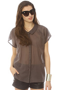 Women&#39;s The Brooke Sheer Blouse in Gull Grey, Tops