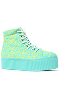 Women's The Hiya Sneaker in Turquoise Wordz, Sneak