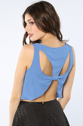 Women's The Jackson Crop Top in Blue, Tops (Sleeve