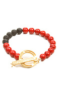 Men&#39;s The Premium Clasp Bracelet in Coral &amp; Lava, 