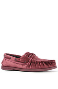 Men's The A/O 2-Eye Velvet Boat Shoe in Fuchsia, S