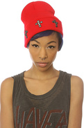 Women's The Cross Beanie in Red & Black Studs, Hat