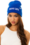 Women's The Thug Life Beanie in Blue, Hats