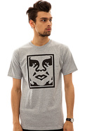Men's The Icon Face Tee in Heather Grey, T-shirts