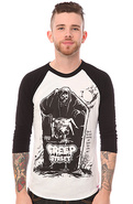 Men&#39;s The Doom Tomb Raglan Tee in White and Black,
