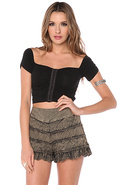 Women's The Tiered Ruffled Skort in Taupe, Shorts