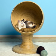 The Refined Feline Kitty Ball Bed Bamboo