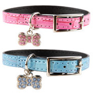 Lil&#39; Paw Faux Alligator Dog Collar with Rhinestone