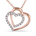 Miadora Rose Silver 1/10ct TDW Diamond Heart Neckl