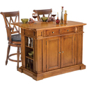 Oak Kitchen Island and Two Deluxe Bar Stools