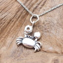Walking Crab Oval Link Sterling Silver Necklace (T