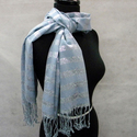 Light Blue Fashion Scarf with Silver Line Threadin