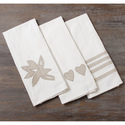 Set of Three Linen Applique Kitchen Towels (Indone
