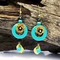 Ruffled Rose Origins Turquoise Stone Brass Earring