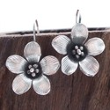 Beautiful Detailed 3D Flower Silver Earrings (Thai
