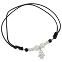 Tressa Sterling Silver Faux Pearl and Onyx Hamsa C