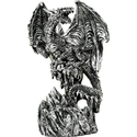 Silver Dragon Standing on Mountain Statue with Swo