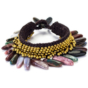 Quartz and Brass Bead Wax Cord Bracelet (Thailand)