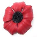 Red Daisy Flower Genuine Leather 2-in-1 Pin/ Hairc