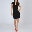 Women's Black Shutter Pleat Dress