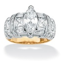 Ultimate CZ 18k Gold over Sterling Silver Tutone M