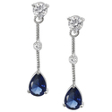 Tressa Sterling Silver Blue and White CZ Drop Earr