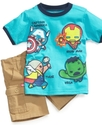 Baby Set, Baby Boys Marvel Tee and Shorts Set