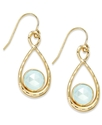 10k Gold Earrings, Medium Blue Chalcedony Figure 8