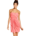 Juniors Dress, Strapless Sweetheart Draped