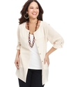 Plus Size Top, Three-Quarter-Sleeve Linen Shirt