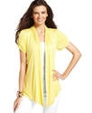 Cardigan, Short-Sleeve Ruched Draped