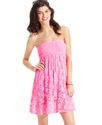 Cover Up, Strapless Smocked Crochet Dress Women's
