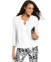 Jacket, Three-Quarter-Sleeve Collarless Blazer