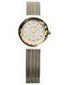 Watch, Women&#39;s Two Tone Striped Mesh Stainless Ste