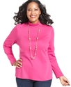 Plus Size Top, Long-Sleeve Mock-Neck