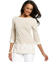 Top, Three-Quarter-Sleeve Boat-Neck Tunic